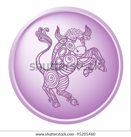 taurus, button with sign of the zodiac - stock photo