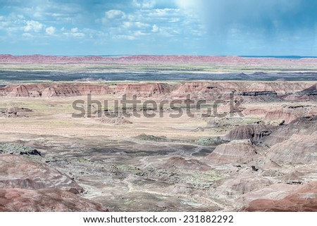 Tawa Point Storm, Painted Desert, Petrified Forest National Park, on Route 66, near Holbrook, Arizona. - stock photo