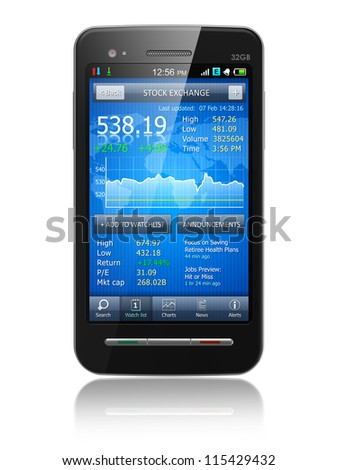 Tax, accounting and making money concept: black glossy business touchscreen smartphone with stock exchange market financial application isolated on white background with reflection effect - stock photo