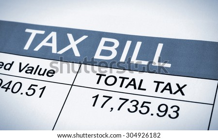 Tax Bill printed letter - stock photo