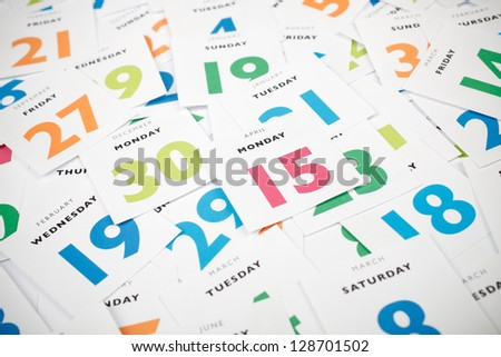 Tax day deadline 15th April - calendar pieces. Planning and time management concept. - stock photo