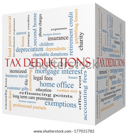 Tax Deductions 3D cube Word Cloud Concept with great terms such as mortgage, dependents, fees and more. - stock photo
