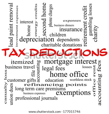 Tax Deductions Word Cloud Concept in red caps with great terms such as mortgage, dependents, fees and more. - stock photo