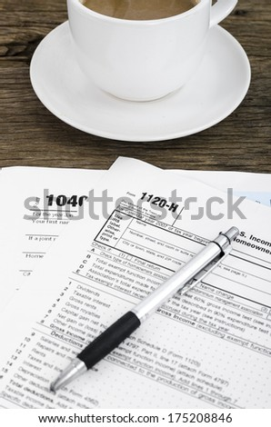 Tax documents in relax time with coffee