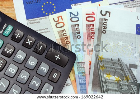 Tax europe form with money euro vat polish - stock photo