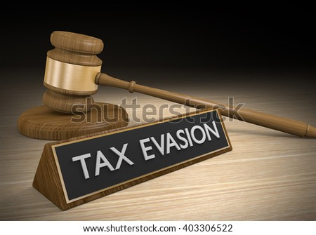 Tax evasion through illegal schemes and breaking laws, 3D rendering - stock photo