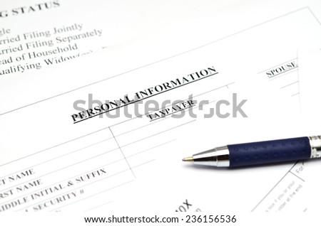 Tax form, - stock photo
