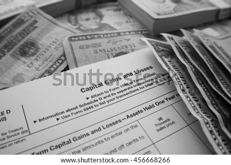 Tax Form Black & White Stock Photo High Quality