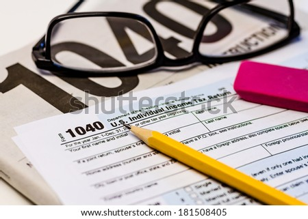 Tax Form 1040 Ez Instructions Pencil Pink Stock Photo Royalty Free