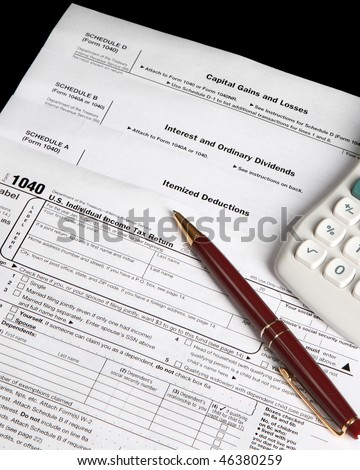 Tax forms,calculator and pen - vertical image - stock photo