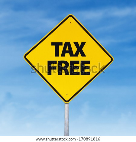 Tax free road sign on the blue sky - stock photo