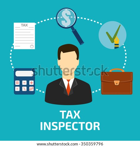 Tax inspector icon flat style - stock photo
