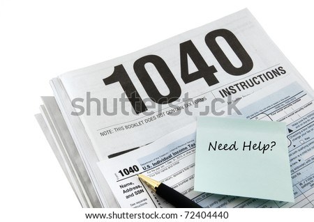 Tax instructions and tax form for tax returns preparation. - stock photo