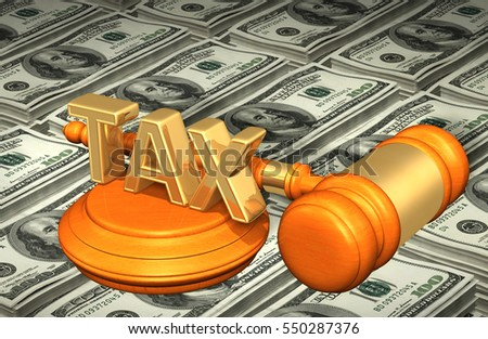 Tax Legal Gavel Concept 3D Illustration
