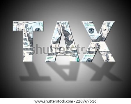Tax Letters Indicating American Dollars And Levy - stock photo