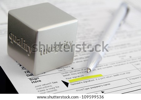 Tax preparation honesty concept. - stock photo