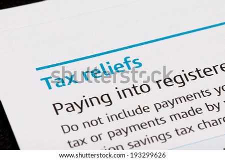 Tax reliefs on a tax form - stock photo
