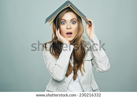 Tax report concept portrait of business woman bookkeeper, accountant. Isolated. Studio. - stock photo
