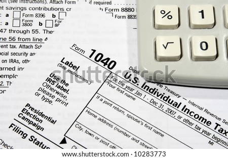 Tax Return Forms with a calculator
