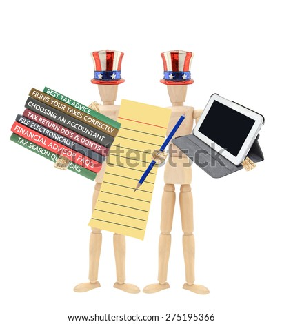 Tax Season Stack of Books( Best Tax Advise, Choosing Accountant, Filing, Do's and Don'ts, Financial Advisor)Mannequin wearing Patriotic Hat tie holding Digital Tablet - stock photo