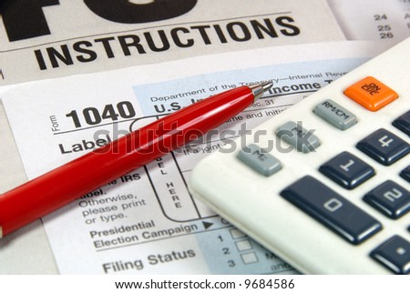 Tax Time and General Business Symbols - stock photo