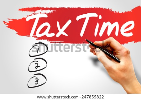 TAX TIME blank list, business concept - stock photo