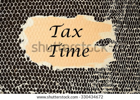 Tax Time on paper torn - stock photo