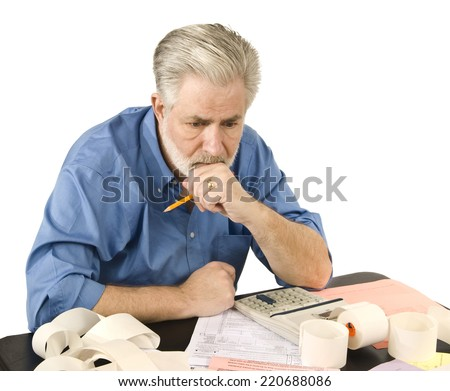 Tax Worries/ Horizontal Shot/ Man Worried About Taxes/ On White Background - stock photo