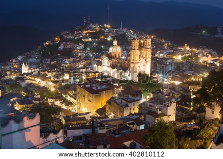 Taxco Guerrero Mexico a colrful town, night view. - stock photo