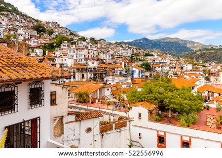 TAXCO, MEXICO - OCT 28, 2016: Aerial view of Taxco, Mexico. The town is known because of its Silver products