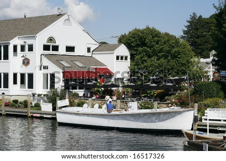 taxi boat and restaurant in Mystic, Connecticut