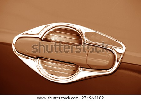 Taxi car door handle - stock photo