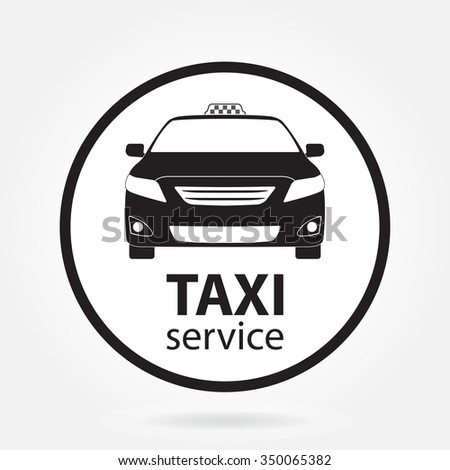 Taxi car icon or sign on white background. Taxi service design. - stock photo