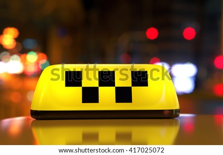 Taxi car sign with checker symbol on cab top on city street . Night scene, selective focus. 3D illustration - stock photo