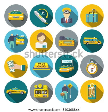 Taxi driver transportation car service cab man flat long shadow icons set isolated  illustration - stock photo