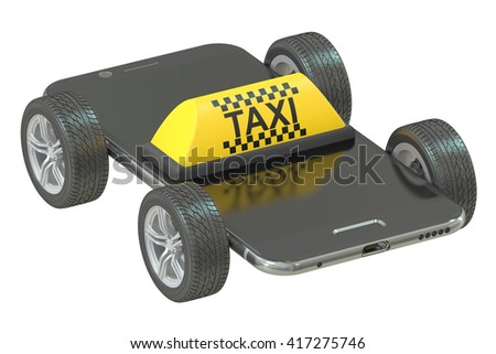 taxi service concept, 3D rendering isolated on white background - stock photo
