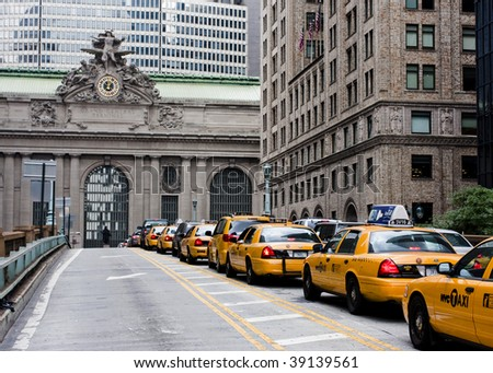 Taxi traffic on the way to Grand Central Terminal - stock photo