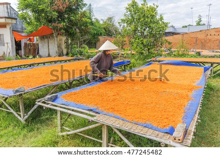 TAY NINH,VIETNAM - NOV 25, 2014:Tay Ninh chili shrimp salt (muoi tom),Vietnamese cuisine.Tay Ninh is famous for wholesale shrimp salt in Vietnam.This kind of salt is made of dried shrimp