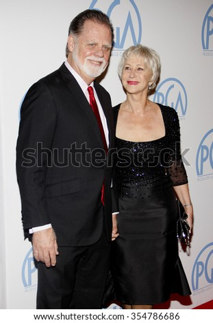 Taylor Hackford and Helen Mirren at the 22nd Annual Producers Guild Awards held at the Beverly Hilton hotel in Beverly Hills, California, United States on January 22, 2010.  - stock photo