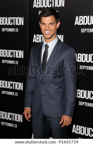 """Taylor Lautner at the """"Abduction"""" World Premiere, Chinese Theater, Hollywood, CA. 09-15-11 - stock photo"""