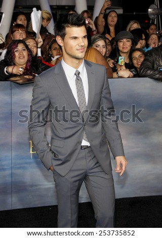 "Taylor Lautner at the Los Angeles Premiere of ""The Twilight Saga: Breaking Dawn - Part 2"" held at the Nokia L.A. Live Theatre in Los Angeles, California, United States on November 12, 2012. - stock photo"