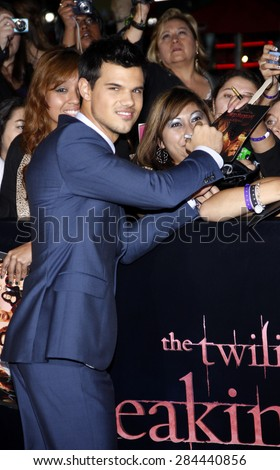 Taylor Lautner at the Los Angeles premiere of 'The Twilight Saga: Breaking Dawn Part 1' held at the Nokia Theatre L.A. Live in Los Angeles on November 14, 2011.  - stock photo