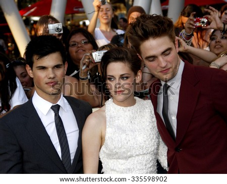 "Taylor Lautner, Kristen Stewart and Robert Pattinson at the ""The Twilight Saga: Eclipse"" Los Angeles Premiere held at the Nokia Live Theater in Los Angeles, California, United States on June 24, 2010."
