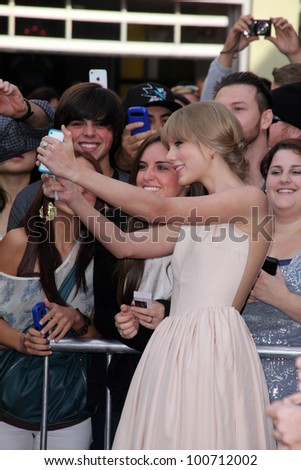 """Taylor Swift at the """"Dr. Seuss' The Lorax"""" Premiere, Universal Studios, Universal City, CA 02-19-12 - stock photo"""