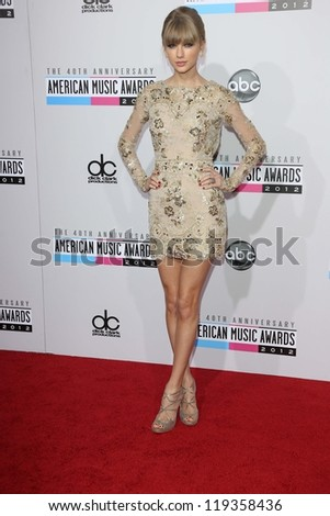 Taylor Swift at the 40th American Music Awards Arrivals, Nokia Theatre, Los Angeles, CA 11-18-12 - stock photo