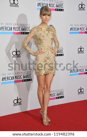 Taylor Swift at the 40th Anniversary American Music Awards at the Nokia Theatre LA Live. November 18, 2012  Los Angeles, CA Picture: Paul Smith