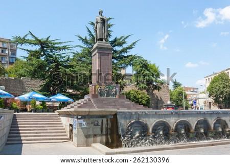 TBILISI, GEORGIA - AUGUST 7, 2013: The monument to the famous Georgian poet Shota Rustaveli Tbilisi. The Republic Of Georgia - stock photo