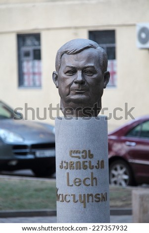 TBILISI, GEORGIA - JULY 3, 2014: A statue of Polish President Lech Kaczynski has been unveiled in a Tbilisi square on the second anniversary of his death. Kaczynski died in a plane crash in Smolensk - stock photo