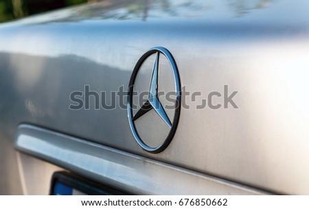 Tbilisi, Georgia - June 25, 2017: Mersedes Benz closeup logo on the C class car