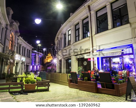 TBILISI, GEORGIA - MAY 18: Bambis Rigi street in the old town of Tbilisi on Saturday night, May 18, 2013. The street is know for its bars and restaurants.